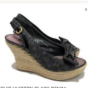 Louis Vuitton dark denim espadrille wedges